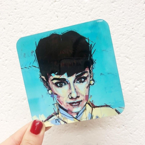 Audrey Hepburn - personalised drink coasters