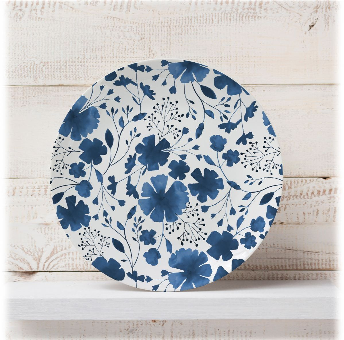 Dizzywonders art on ArtWOW: Blue white floral watercolour pattern – customised plate