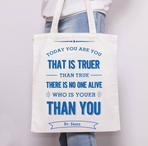 Ilka Dickens designer artwork on ArtWOW: Dr Seuss today you are you blue – custom-made tote bags