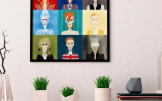 9 portraits of David Bowie- print by artwow designer Anastasia Beltyukova