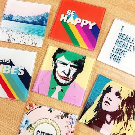 Personalised drink coaster designed by Wallace Elizabeth for Artwow