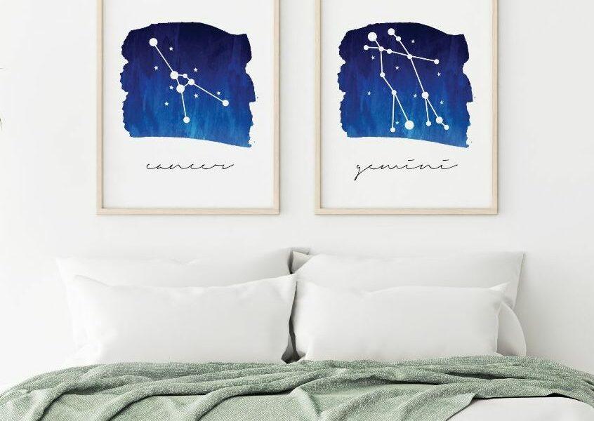 Virgo zodiac constellation - original print by Toni Scott