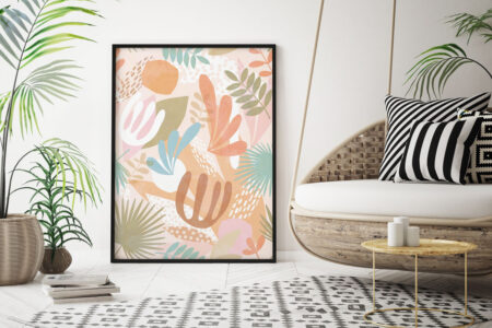 Boho style in interier of living room