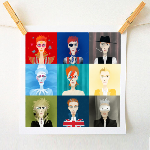 9 portraits of David Bowie - original art prints designed by Anastasia Beltyukova for ArtWow