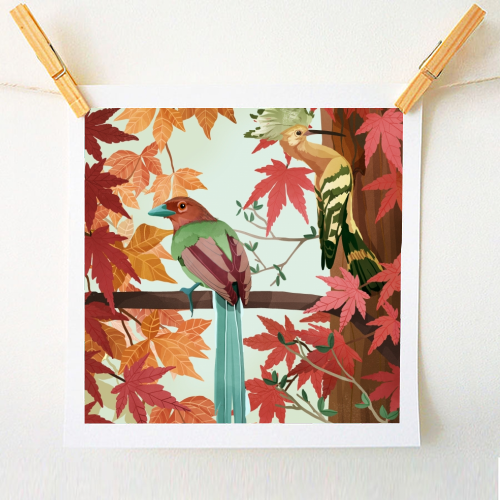 Birds of autumn - unique art prints designed on ART WOW