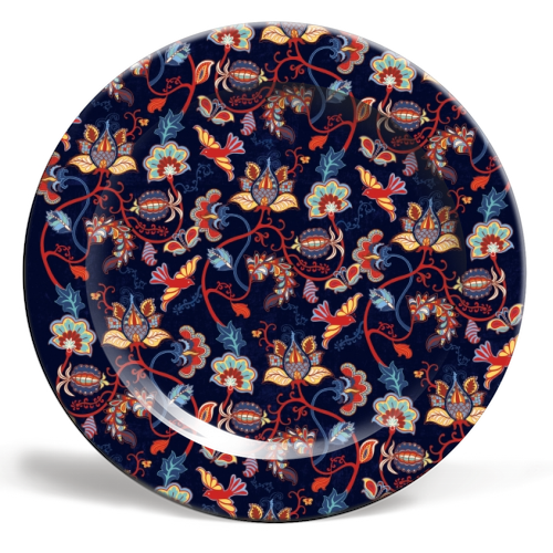 Folk flora & fauna - porcelain dinner plates on ARTwow