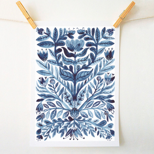 Indigo floral art prints on ART WOW