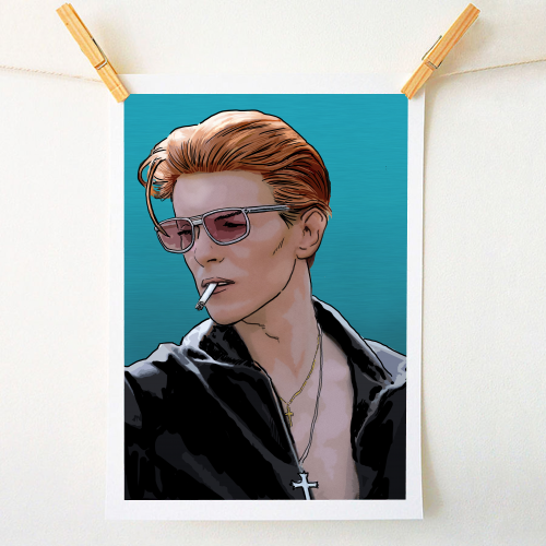 David Bowie fashion - personalised artwork designed by Dan Avenell for ART WOW