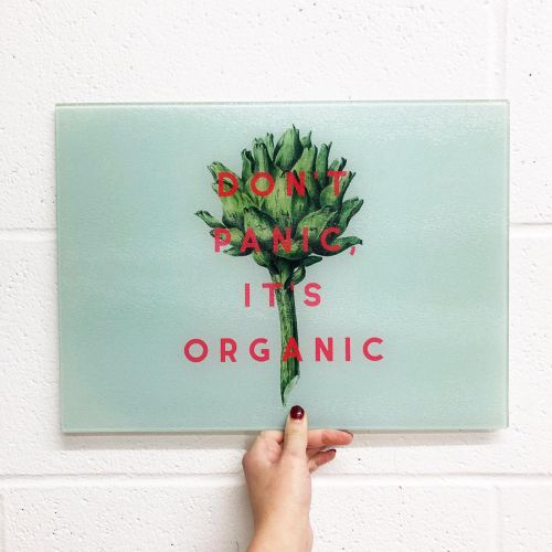 Don't panic it's organic - glass chopping board designed by Art Wow artist The 13 prints
