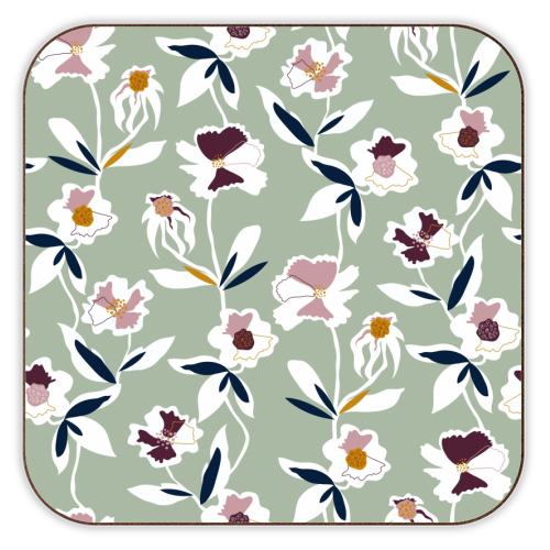 Green floral all over pattern - customised coasters designed by ART WOW artist Dizzy Wonders