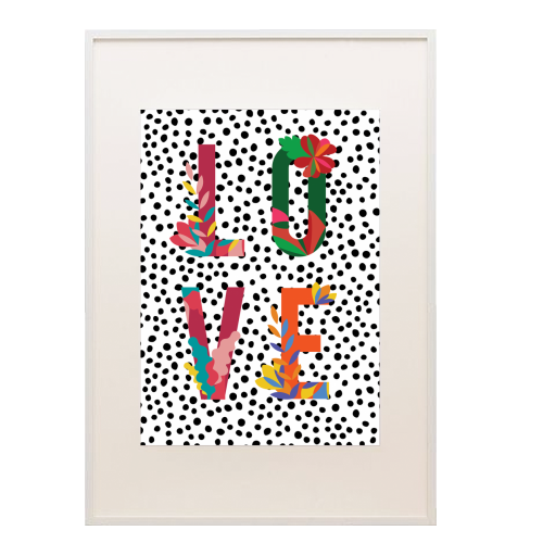 LOVE FLORAL POLKA DOT -  printed framed pictures designed by Art Wow artist The 13 Prints