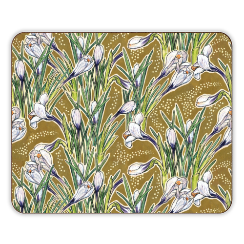 White crocuses, spring flowers - designer placemats by ART WOW designer Julia Khoroshikh