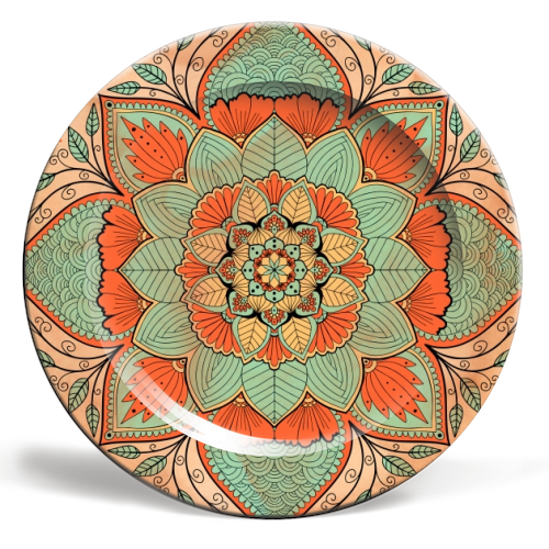 Vintage indian mandala -  personalised dinner plates by Art Wow artist InspiredImages